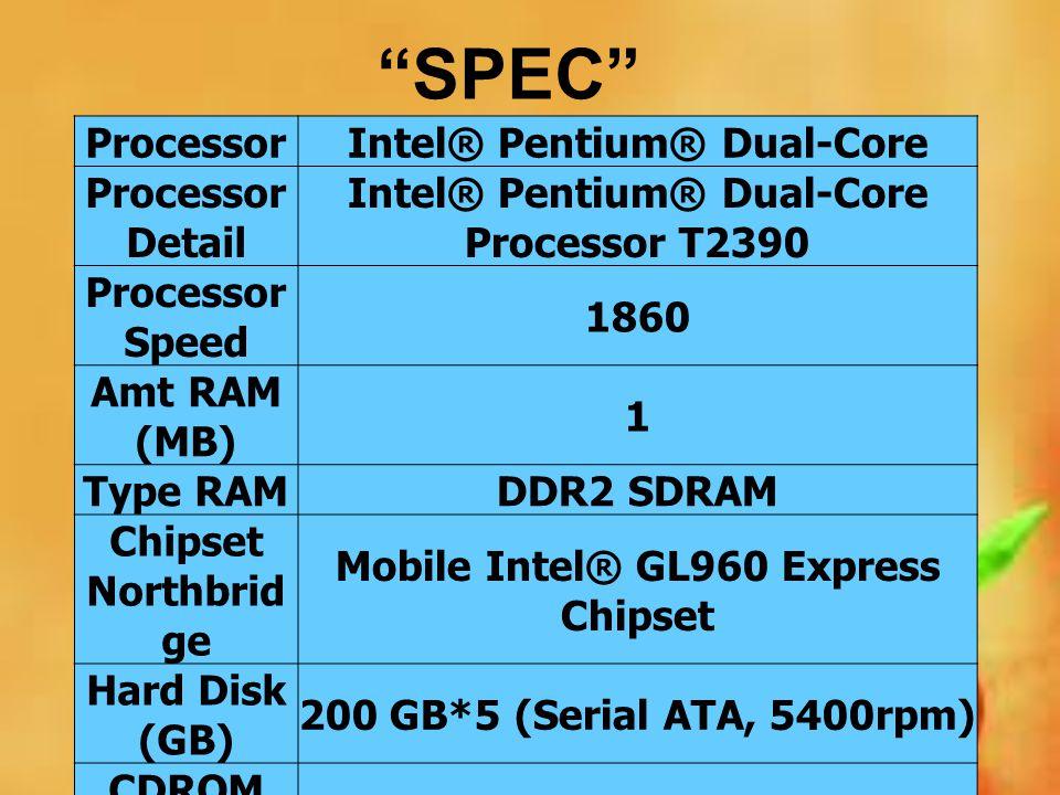 SPEC Processor Intel® Pentium® Dual-Core Processor Detail