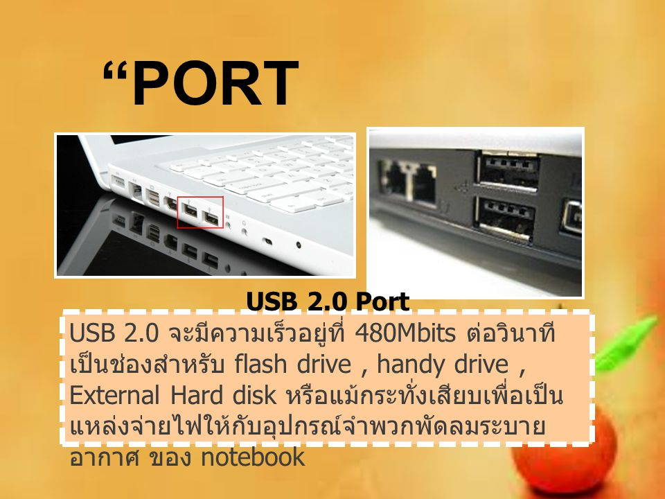 PORT USB 2.0 Port.