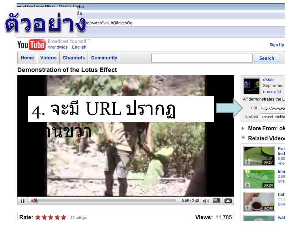 ตัวอย่าง 4. จะมี URL ปรากฏด้านขวา