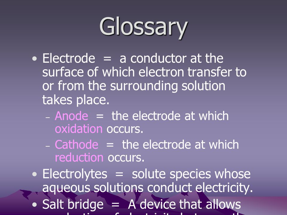 Glossary Electrode = a conductor at the surface of which electron transfer to or from the surrounding solution takes place.