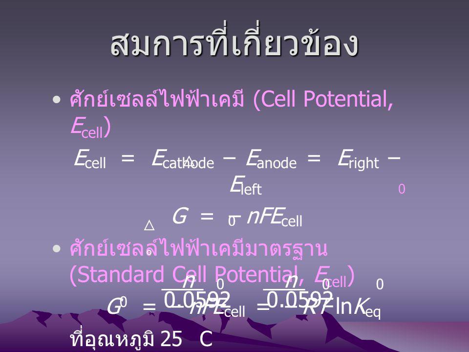 Ecell = Ecathode – Eanode = Eright – Eleft
