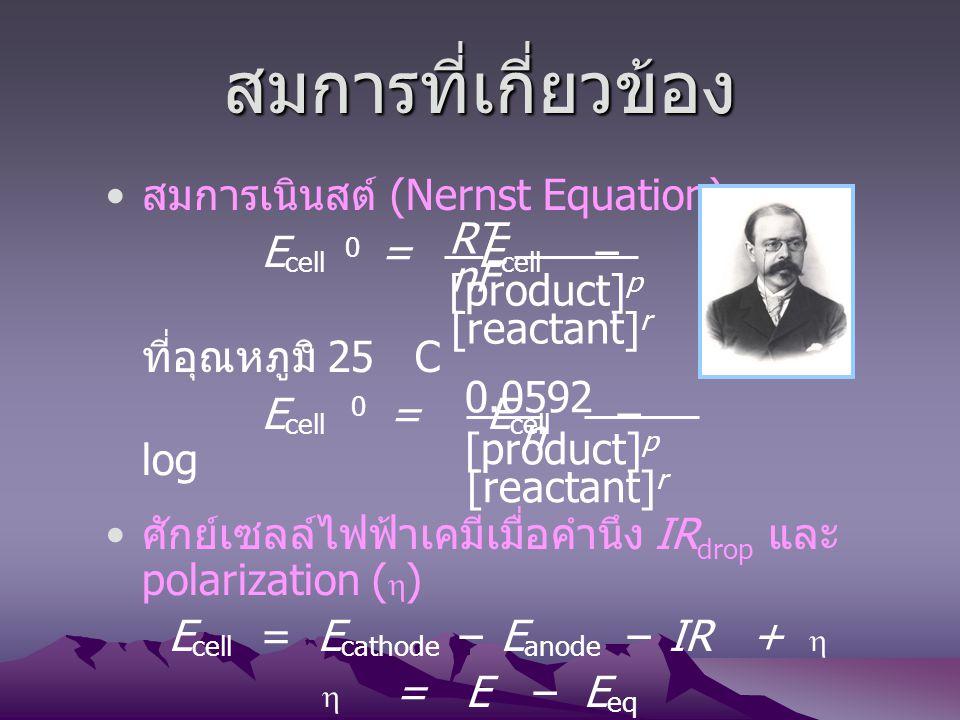 Ecell = Ecathode – Eanode – IR + 