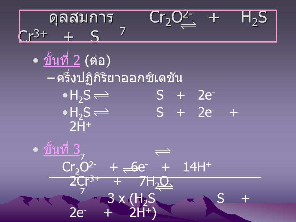 ดุลสมการ Cr2O2- + H2S Cr3+ + S