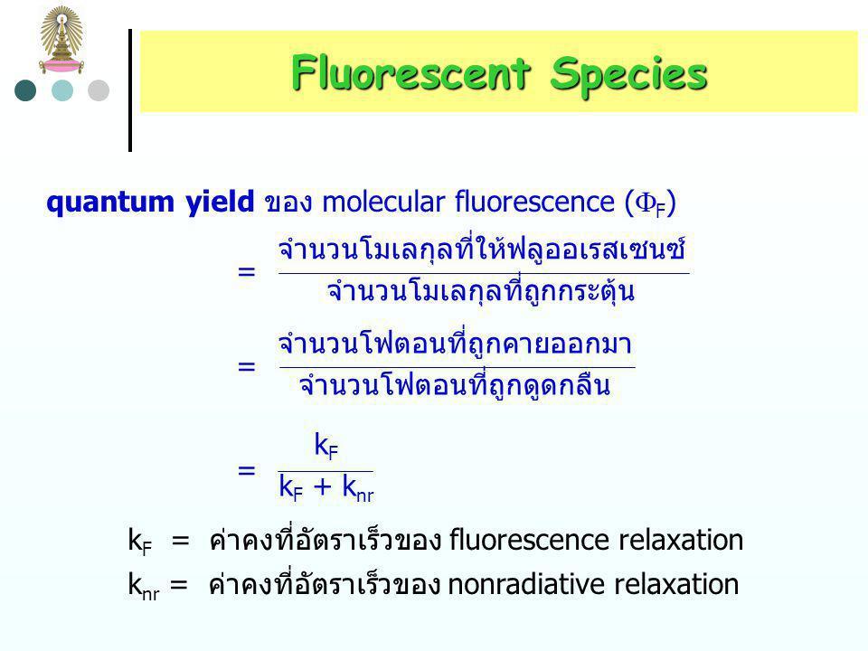 Fluorescent Species quantum yield ของ molecular fluorescence (F) =