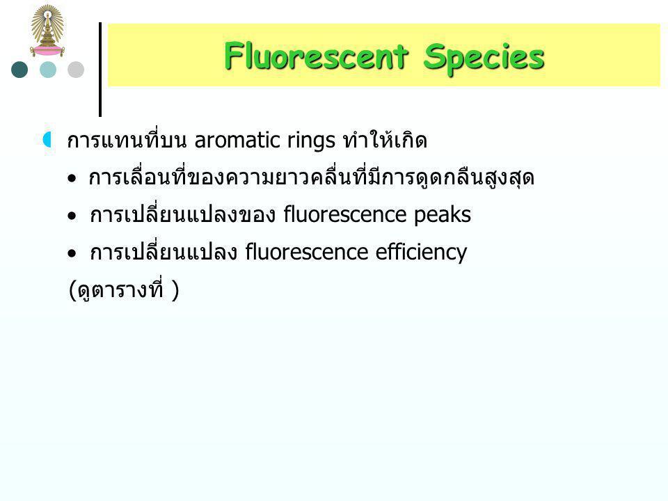 Fluorescent Species การแทนที่บน aromatic rings ทำให้เกิด
