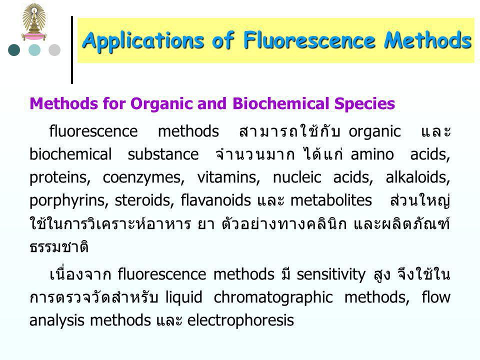 Applications of Fluorescence Methods