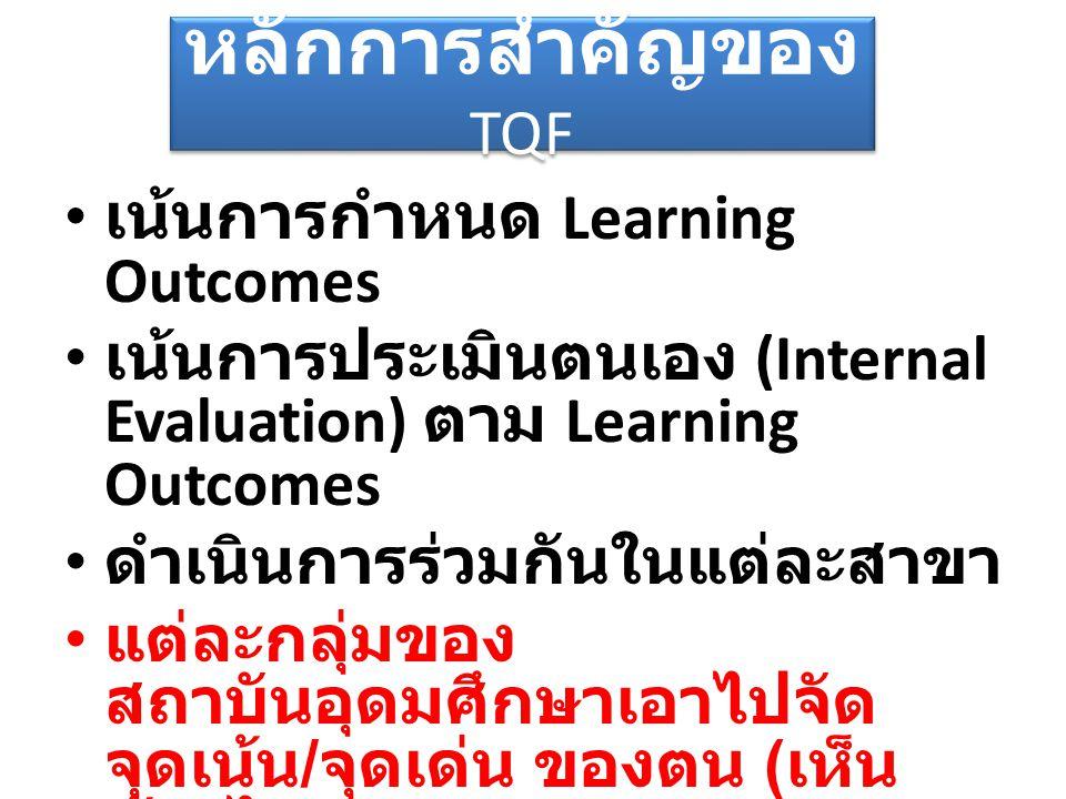 หลักการสำคัญของ TQF เน้นการกำหนด Learning Outcomes