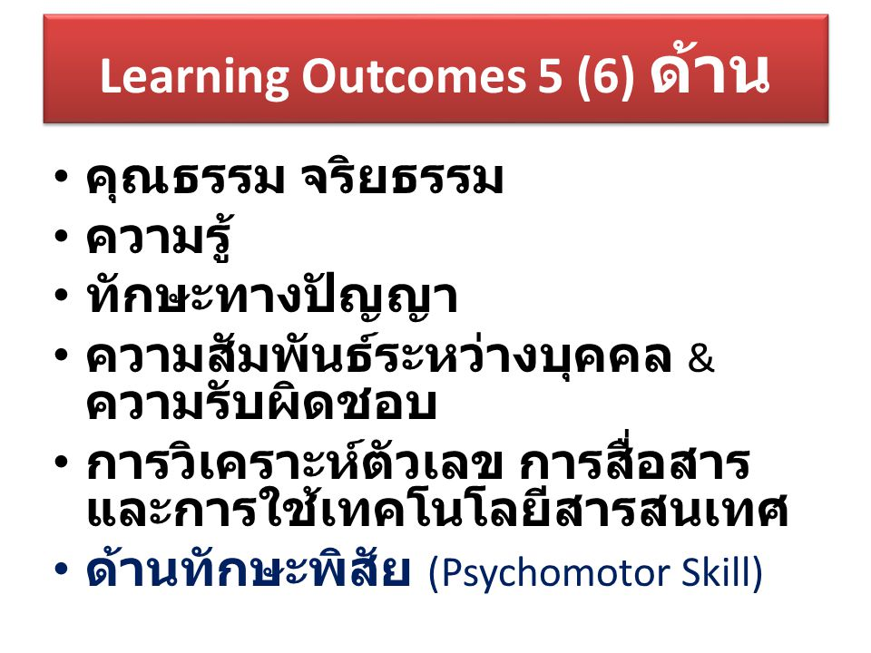 Learning Outcomes 5 (6) ด้าน
