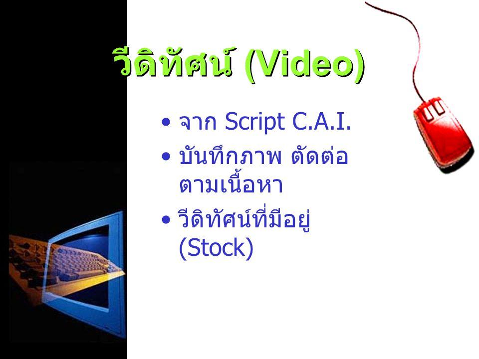 วีดิทัศน์ (Video) จาก Script C.A.I. บันทึกภาพ ตัดต่อ ตามเนื้อหา