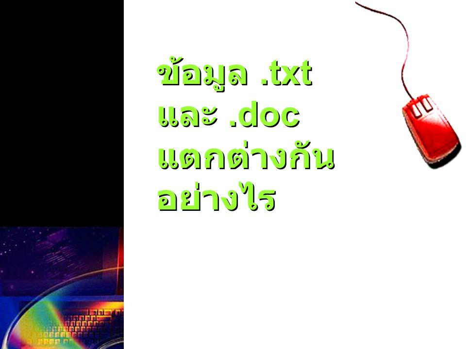 ข้อมูล .txt และ .doc แตกต่างกันอย่างไร