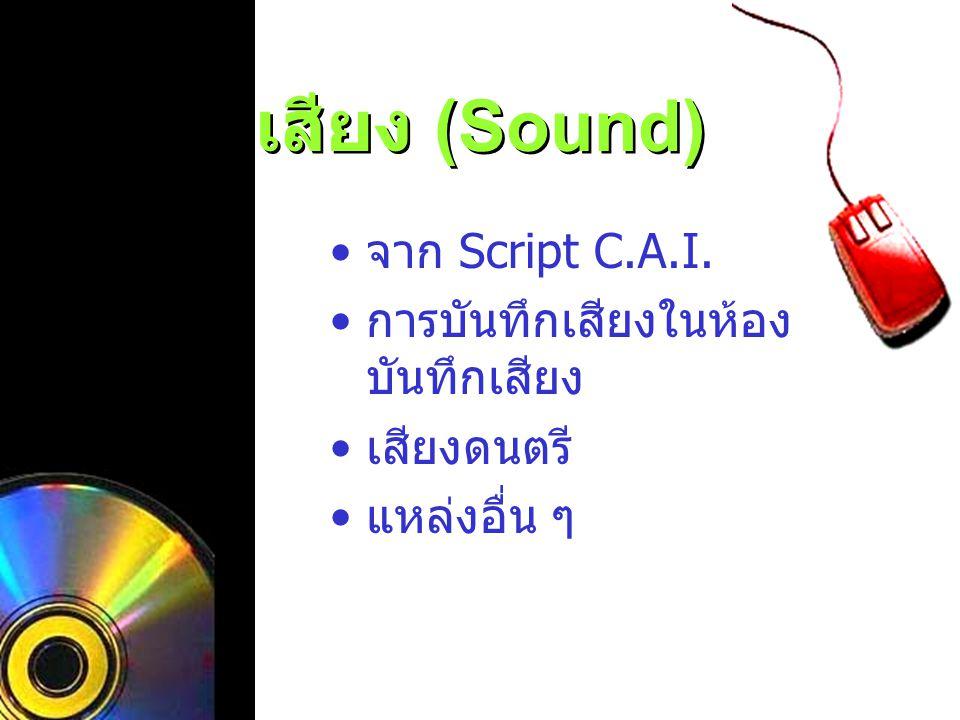 เสียง (Sound) จาก Script C.A.I. การบันทึกเสียงในห้องบันทึกเสียง