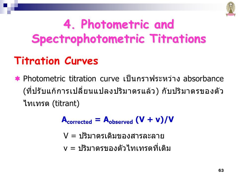 Spectrophotometric Titrations