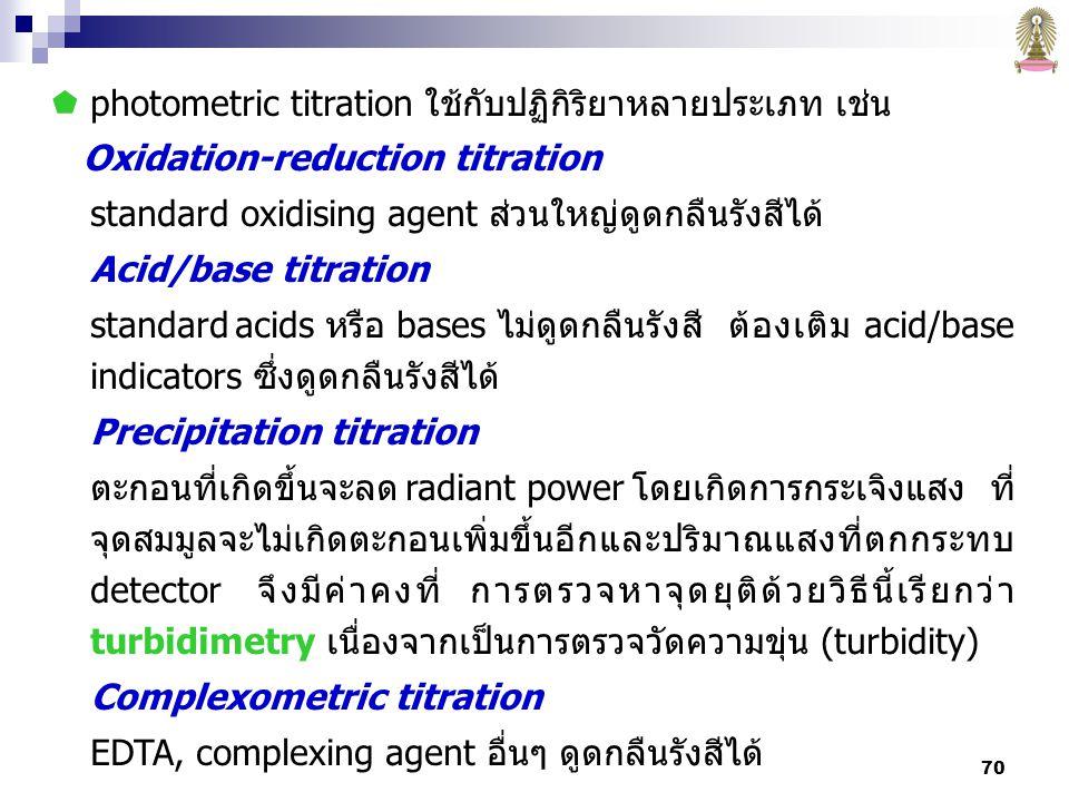 photometric titration ใช้กับปฏิกิริยาหลายประเภท เช่น