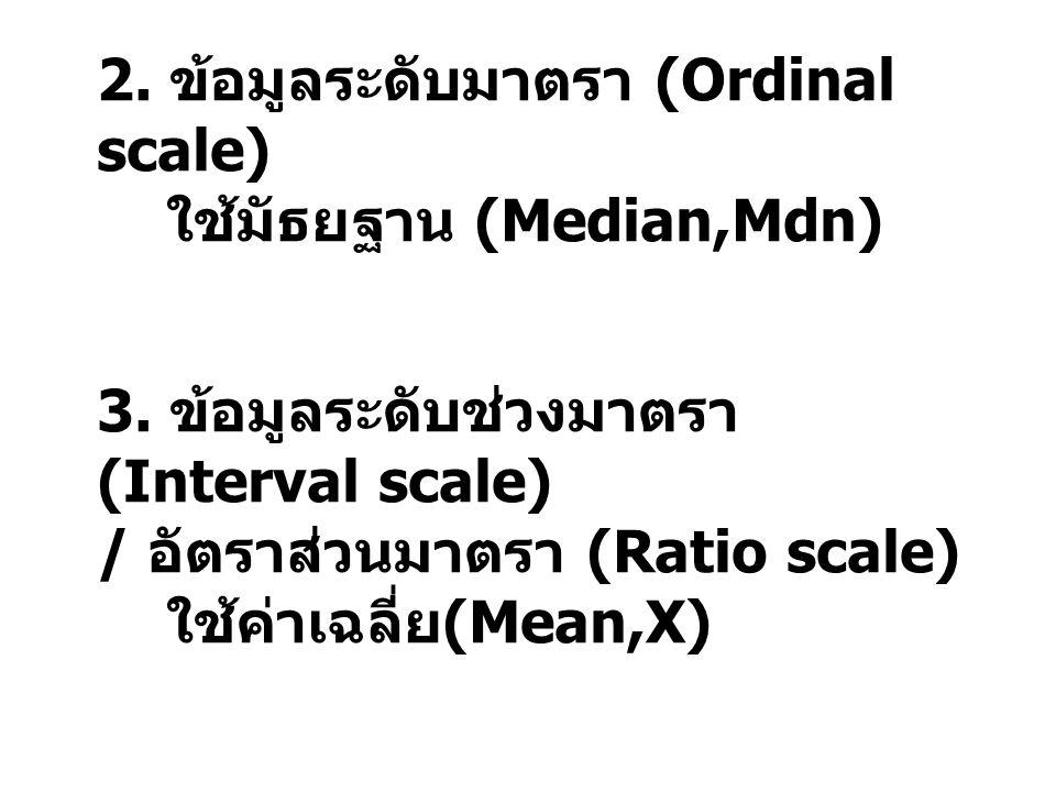 2. ข้อมูลระดับมาตรา (Ordinal scale)