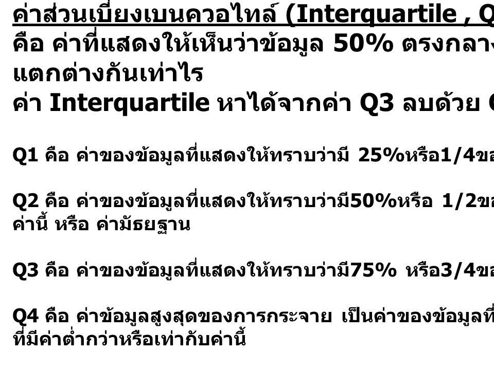 ค่าส่วนเบี่ยงเบนควอไทล์ (Interquartile , Q)