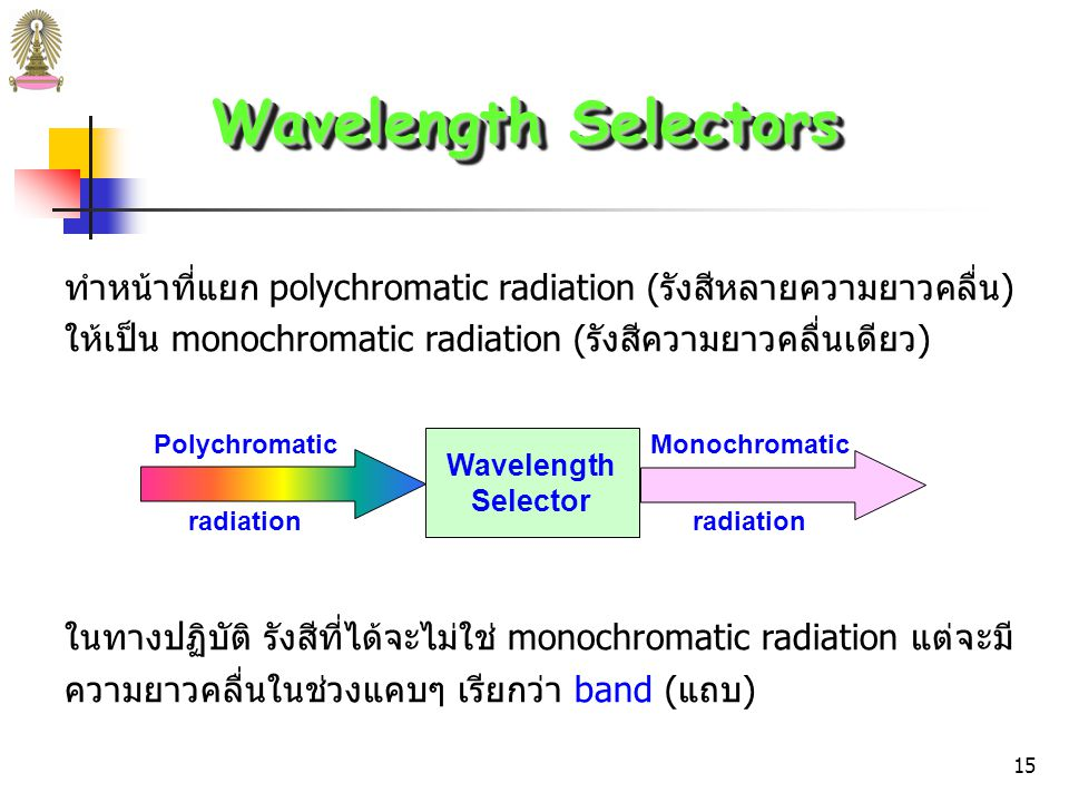Wavelength Selectors ทำหน้าที่แยก polychromatic radiation (รังสีหลายความยาวคลื่น) ให้เป็น monochromatic radiation (รังสีความยาวคลื่นเดียว)