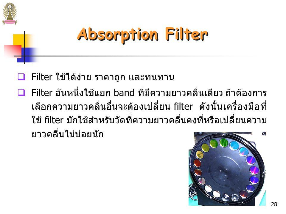 Absorption Filter Filter ใช้ได้ง่าย ราคาถูก และทนทาน