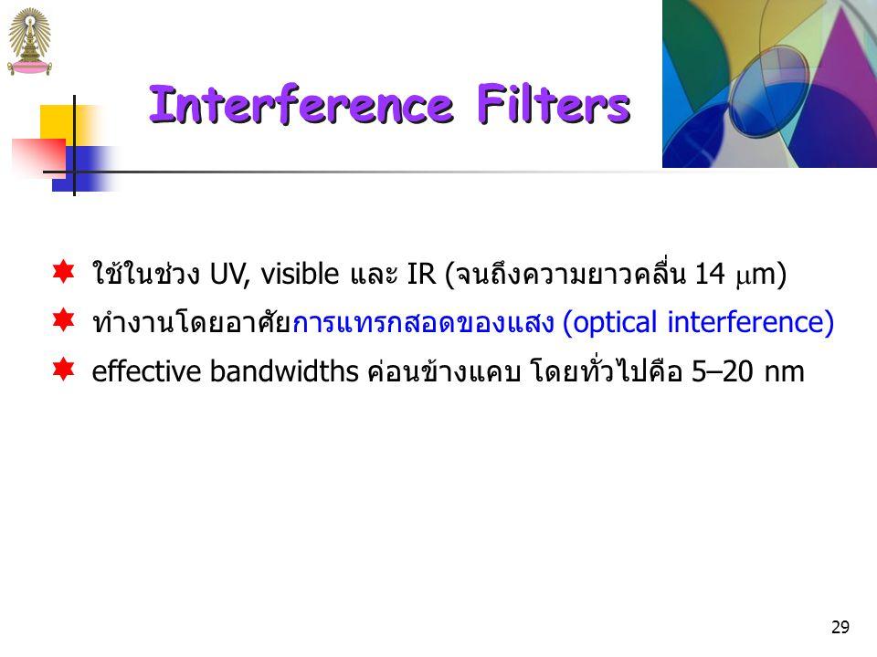 Interference Filters ใช้ในช่วง UV, visible และ IR (จนถึงความยาวคลื่น 14 m) ทำงานโดยอาศัยการแทรกสอดของแสง (optical interference)