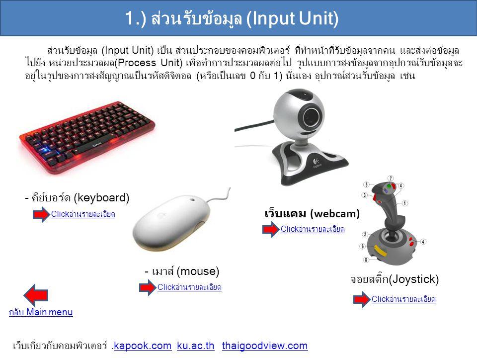 1.) ส่วนรับข้อมูล (Input Unit)