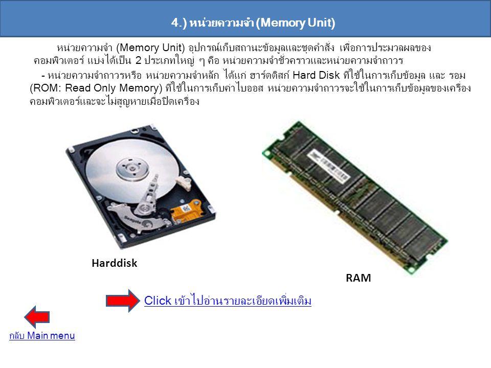 4.) หน่วยความจำ (Memory Unit)