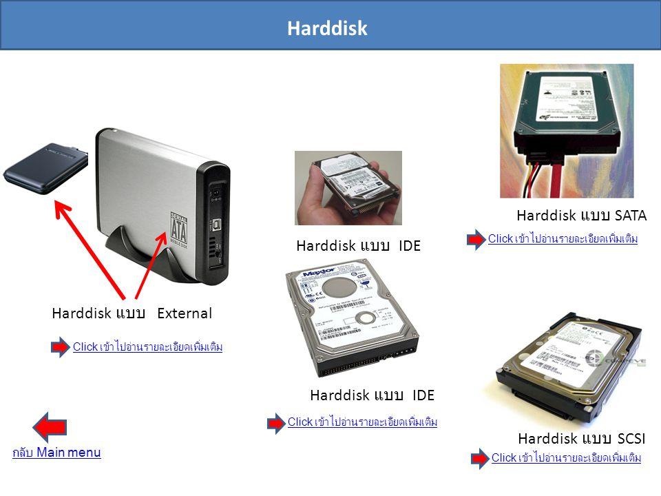 Harddisk Harddisk แบบ SATA Harddisk แบบ IDE Harddisk แบบ External