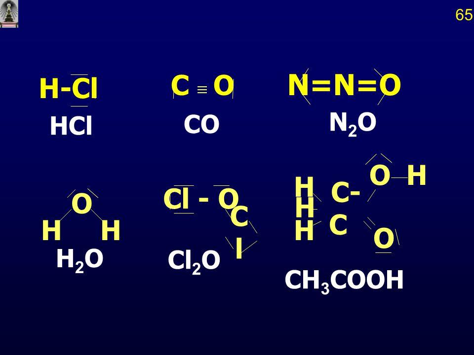 65 C O CO N=N=O N2O HCl H-Cl H C- C O CH3COOH Cl - O Cl Cl2O O H H2O