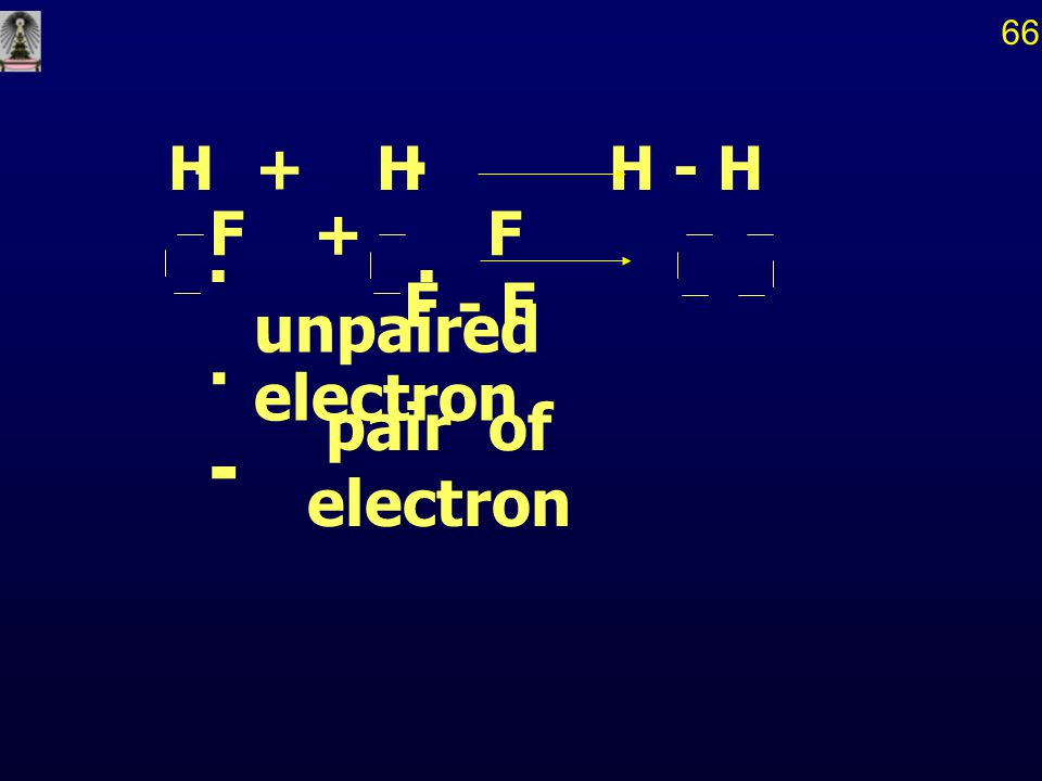 66 . H + H H - H F + F F - F . unpaired electron . - pair of electron