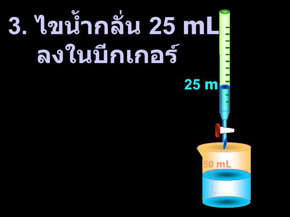 3. ไขน้ำกลั่น 25 mL ลงในบีกเกอร์ 50 mL 50 mL 50 mL 25 mL 50 mL