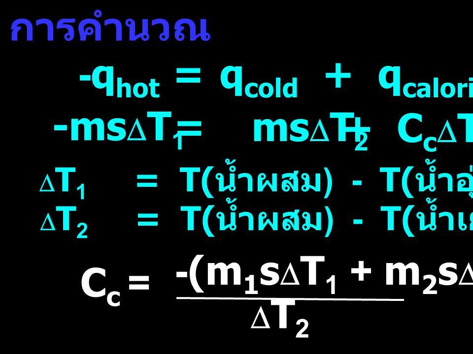 -qhot = qcold + qcalorimeter -msDT1 = msDT2 + CcDT2