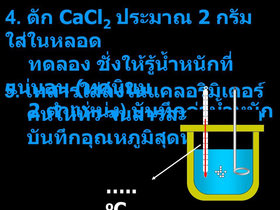 4. ตัก CaCl2 ประมาณ 2 กรัม ใส่ในหลอด