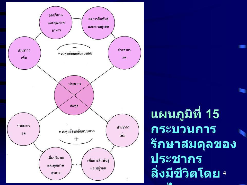 แผนภูมิที่ 15 กระบวนการรักษาสมดุลของประชากรสิ่งมีชีวิตโดยกลไกการควบคุมย้อนกลับแบบบวกและลบที่หน้าที่สมดุลกัน