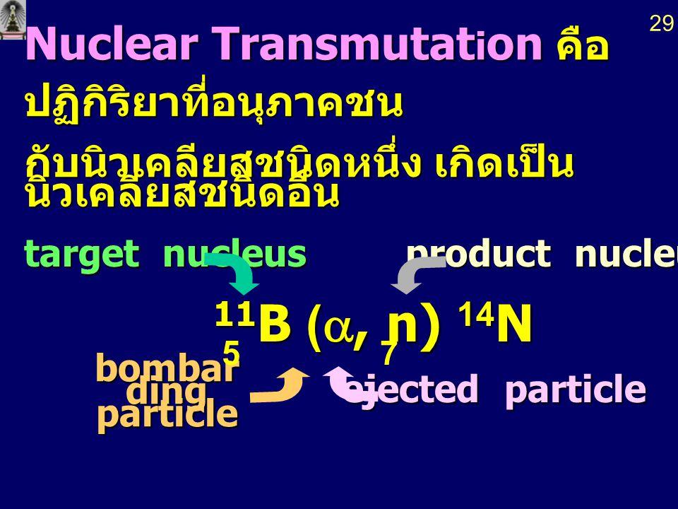 11B (a, n) 14N Nuclear Transmutation คือ ปฏิกิริยาที่อนุภาคชน