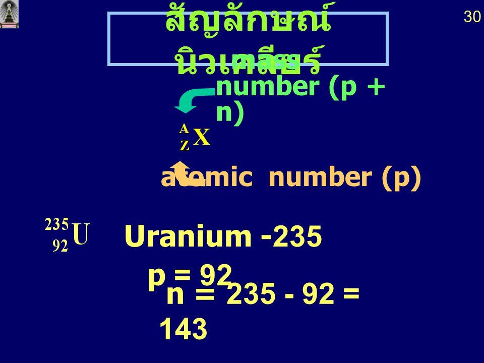 สัญลักษณ์นิวเคลียร์ p = 92 mass number (p + n) atomic number (p)