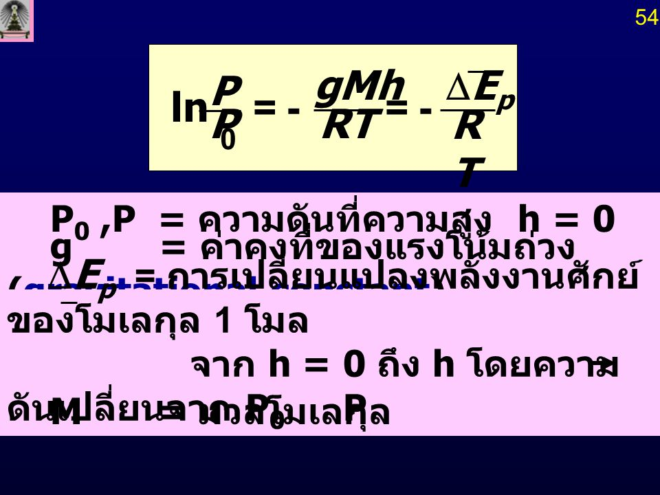 RT gMh P DEp - = ln P0 ,P = ความดันที่ความสูง h = 0 และ h