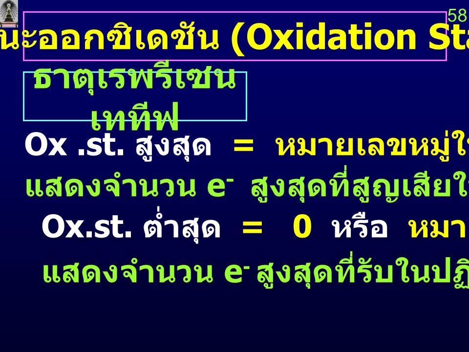 สถานะออกซิเดชัน (Oxidation State)
