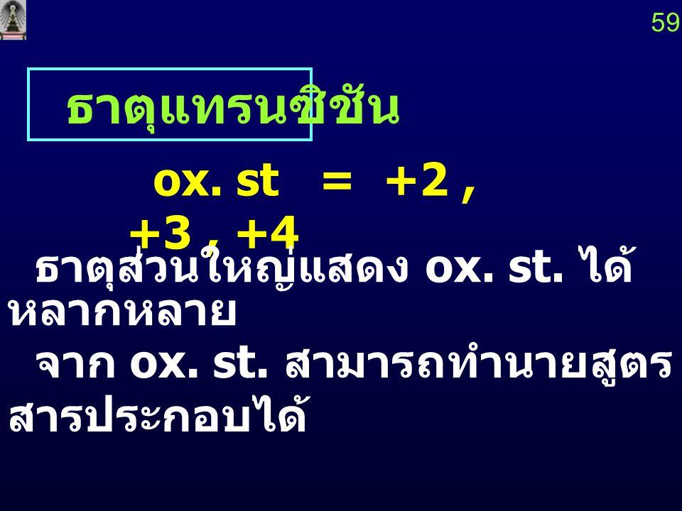 ธาตุแทรนซิชัน ox. st = +2 , +3 , +4