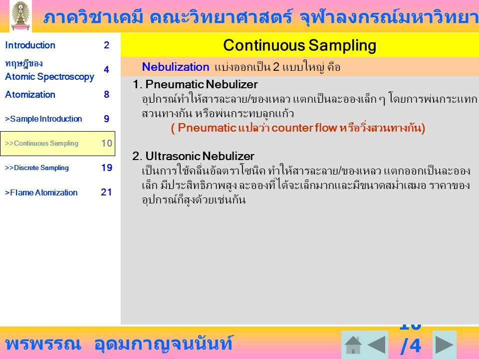 Continuous Sampling Nebulization แบ่งออกเป็น 2 แบบใหญ่ คือ
