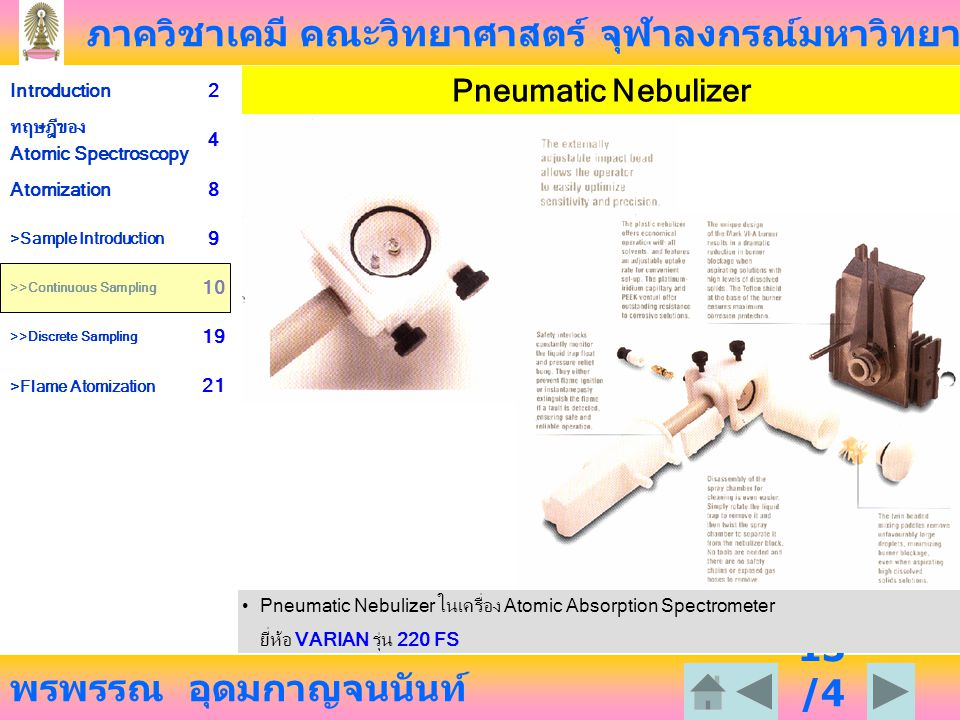 Pneumatic Nebulizer Pneumatic Nebulizer ในเครื่อง Atomic Absorption Spectrometer.