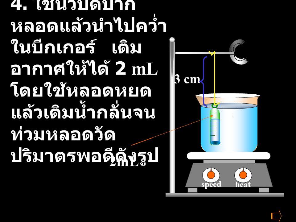 4. ใช้นิ้วปิดปากหลอดแล้วนำไปคว่ำในบีกเกอร์ เติมอากาศให้ได้ 2 mLโดยใช้หลอดหยด แล้วเติมน้ำกลั่นจนท่วมหลอดวัดปริมาตรพอดีดังรูป
