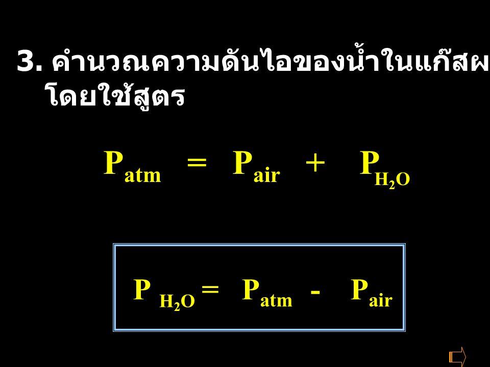 Patm = Pair + P P = Patm - Pair
