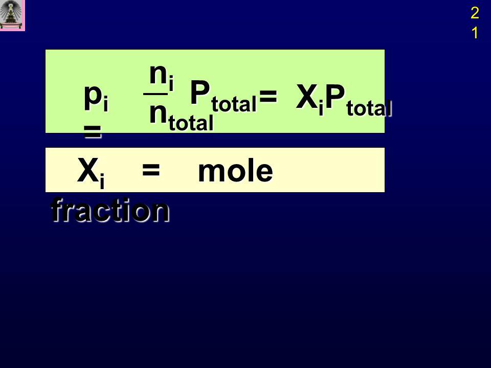 21 ni ntotal pi = Ptotal = XiPtotal Xi = mole fraction