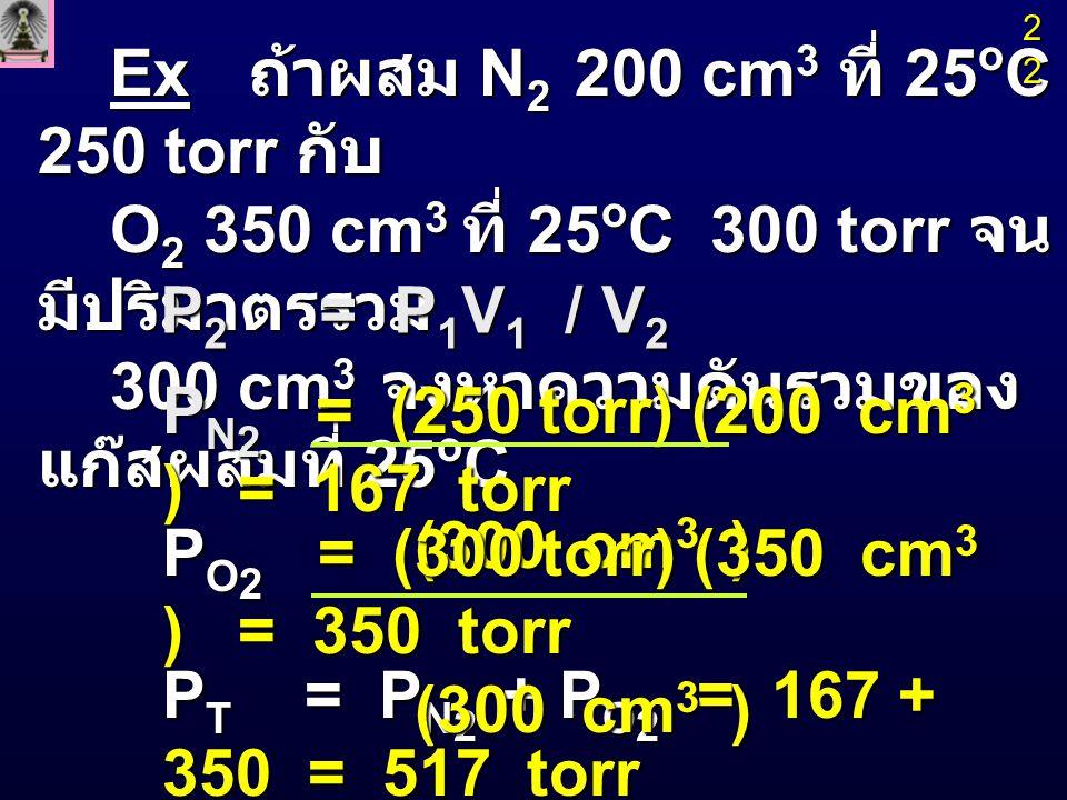Ex ถ้าผสม N2 200 cm3 ที่ 25oC 250 torr กับ