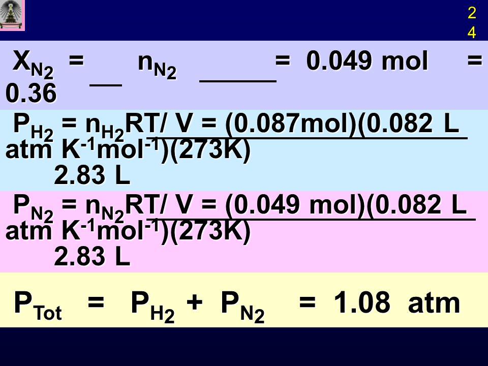 PTot = PH2 + PN2 = 1.08 atm XN2 = nN2 = 0.049 mol = 0.36