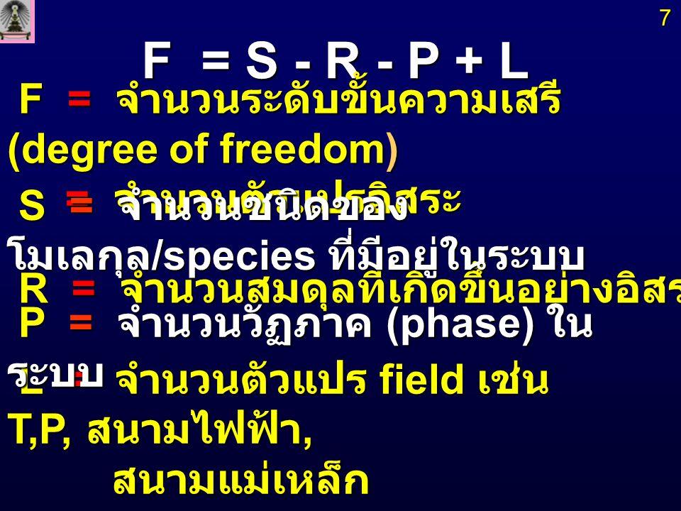 F = S - R - P + L F = จำนวนระดับขั้นความเสรี (degree of freedom)