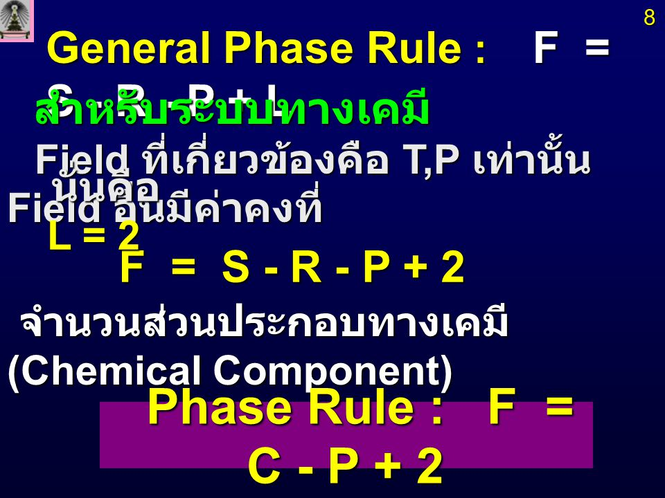 Phase Rule : F = C - P + 2 General Phase Rule : F = S - R - P + L