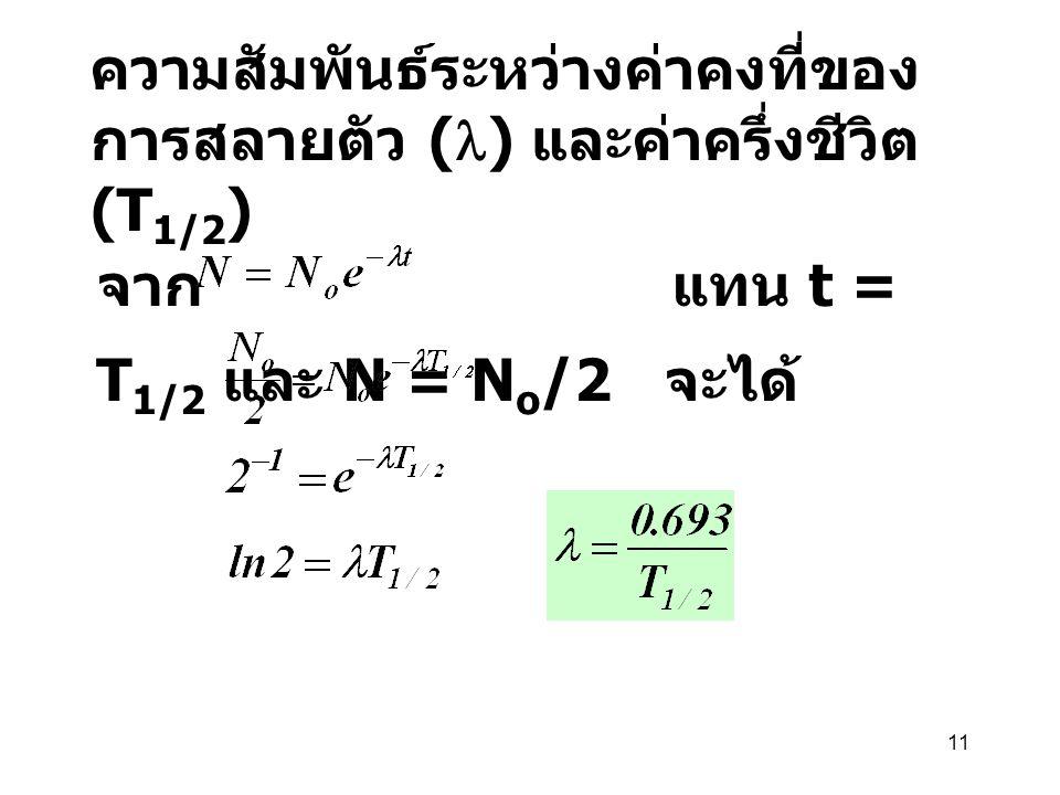 ความสัมพันธ์ระหว่างค่าคงที่ของการสลายตัว (l) และค่าครึ่งชีวิต (T1/2)
