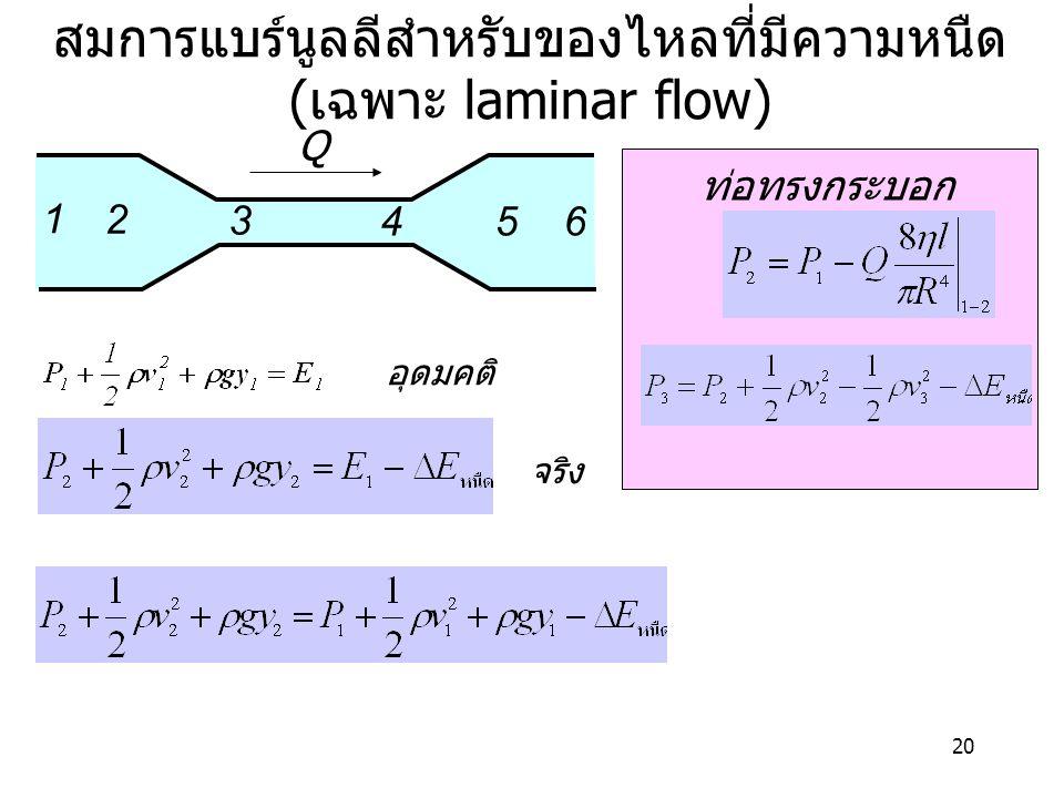 สมการแบร์นูลลีสำหรับของไหลที่มีความหนืด(เฉพาะ laminar flow)