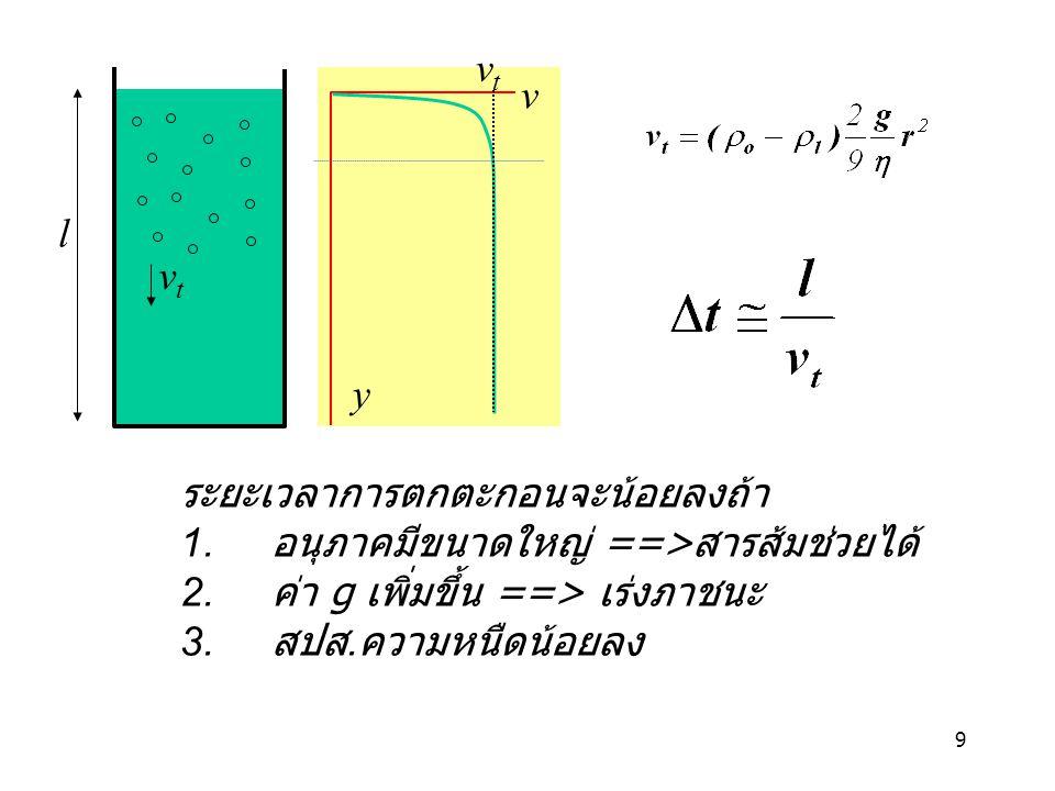 vt v. l. vt. y. ระยะเวลาการตกตะกอนจะน้อยลงถ้า. 1. อนุภาคมีขนาดใหญ่ ==>สารส้มช่วยได้ 2. ค่า g เพิ่มขึ้น ==> เร่งภาชนะ.