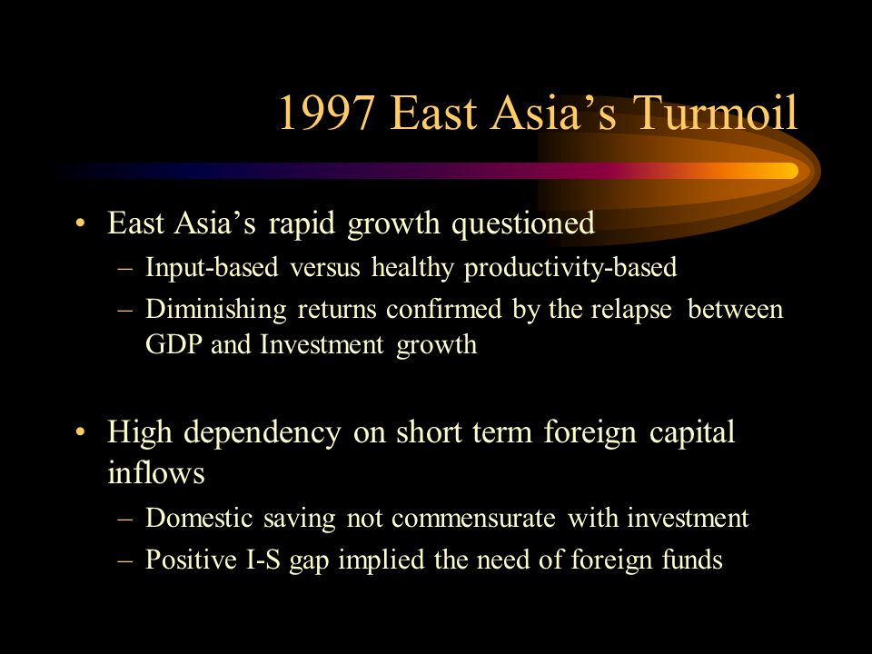 1997 East Asia's Turmoil East Asia's rapid growth questioned