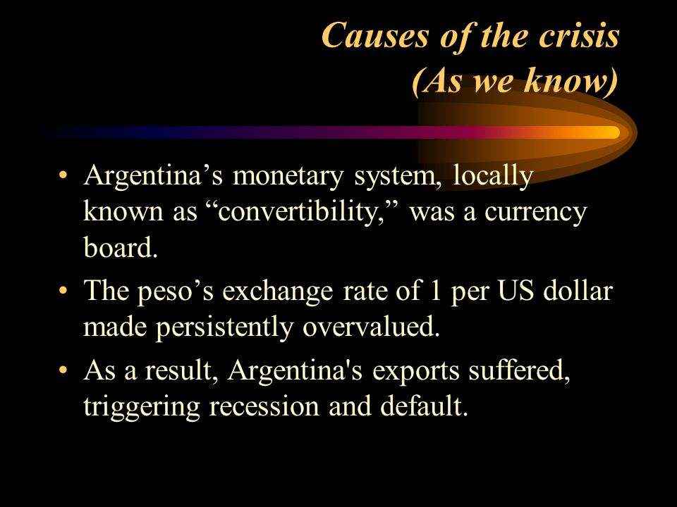 Causes of the crisis (As we know)